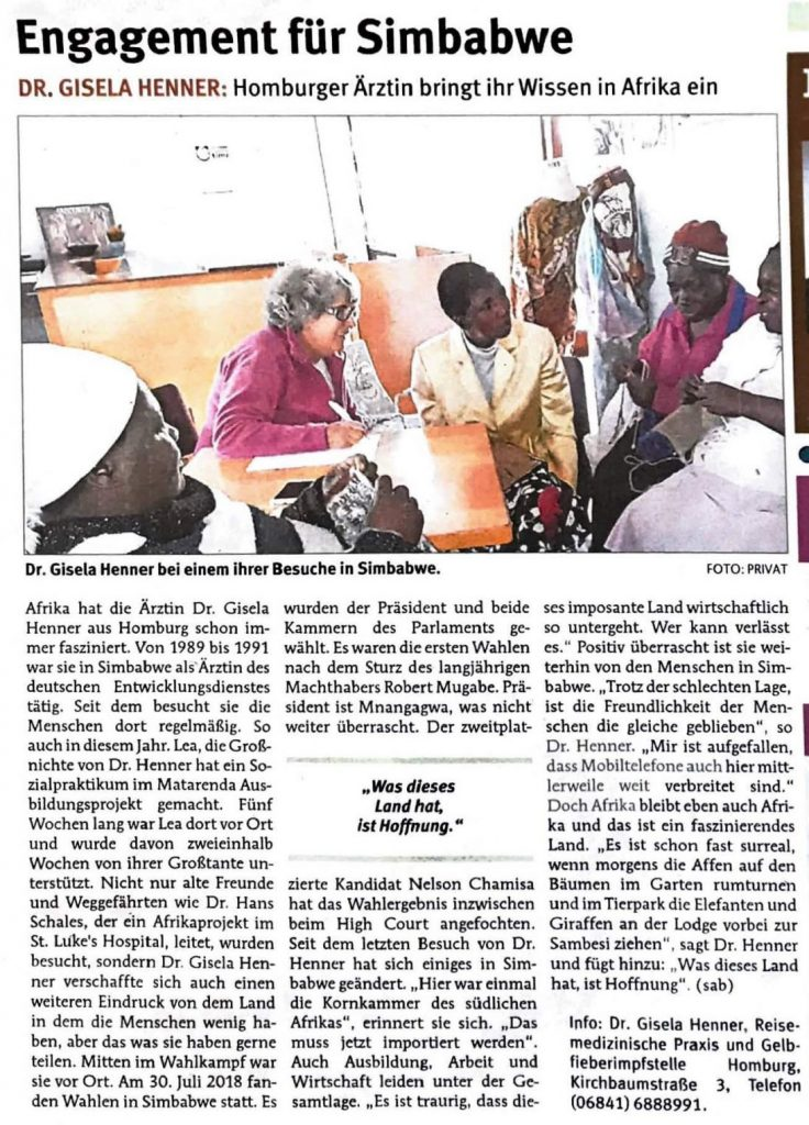 Simbabwe -Kreisanzeiger 29. August 2018